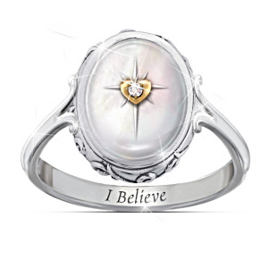 "Diamond And Mother Of Pearl Ring With ""I Believe"" Poem Card"