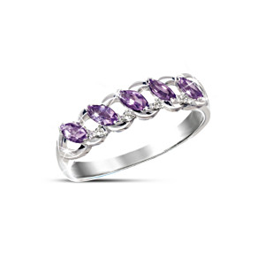 Eternity Ring With Amethysts And Solitaire Diamonds