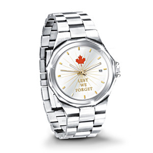 """Lest We Forget"" Commemorative Stainless Steel Men's Watch"