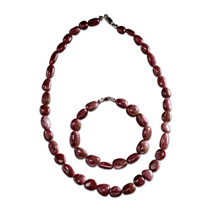 """Natural Beauty"" Rough-Cut Ruby Necklace And Bracelet Set"