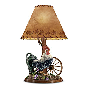 Rooster Table Lamp With Leather Whip-Stitching On Shade