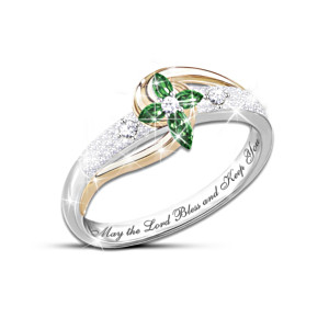 """Divine Inspiration"" Emerald And Diamond Engraved Cross Ring"