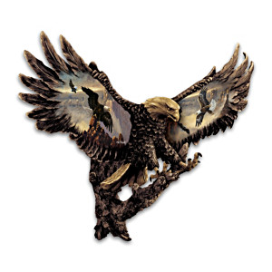 Ted Blaylock Cold-Cast Bronze Bald Eagle Wall Sculpture