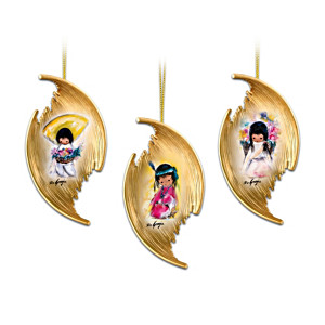 Golden Maize Husk Christmas Ornaments With Ted DeGrazia Art