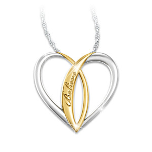 Sterling Silver Ichthus Heart Pendant Necklace For Daughters