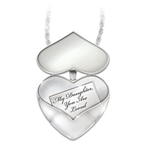 Engraved Heart Locket Pendant With Diamond For Daughters