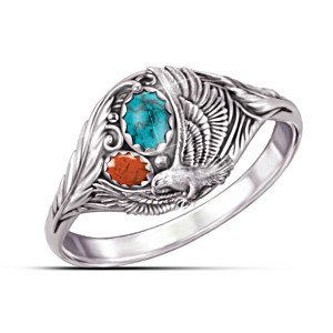 """Spirit Of The Eagle"" Turquoise And Jasper Cabochon Ring"