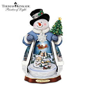 Thomas Kinkade Snowman With Lights, Music And Motion