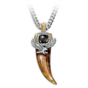 Tiger's Eye And Black Onyx Eagle Talon Pendant Necklace