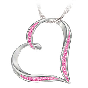 Breast Cancer Support Heart Pendant With Crystals