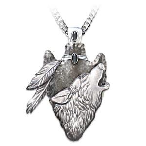 Wolf Arrowhead Pendant With Black Onyx Cabochons