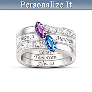 Personalized Birthstone Stacking Ring With Hidden Message