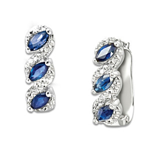 """Celebration"" Genuine Sapphire And Diamond Cuff Earrings"