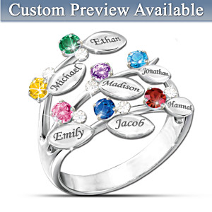 Personalized Leaf-Design Ring With Names And Birthstones
