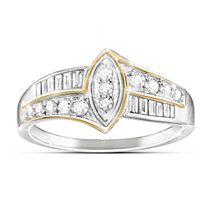 """The Marquise"" Sterling Silver Ring With 24 Genuine Diamonds"