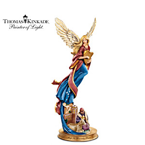 Thomas Kinkade Angel Figurine With Nativity Wise Man Scene