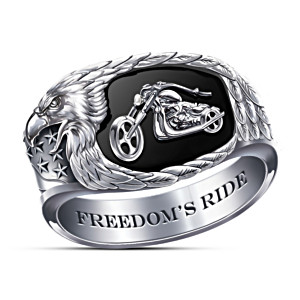 Custom Stainless Steel And Onyx Men's Motorcycle Ring