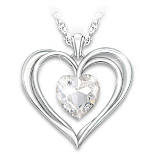 Open Heart Pendant With Swarovski Crystal For Granddaughters
