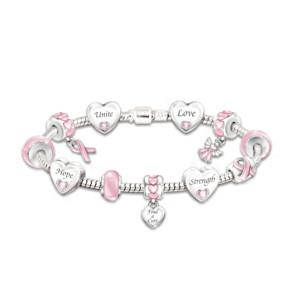 Breast Cancer Support Bracelet With Swarovski Crystals
