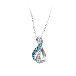 """Cascade Of Beauty"" Blue And White Diamond Pendant Necklace"