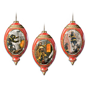 Firefighting Heroes Porcelain Christmas Ornaments: Set Of 3