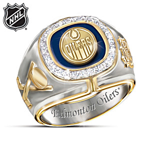 NHL®-Licensed Edmonton Oilers® Ring With 10 Diamonds
