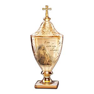 Musical Christian Glass Sculpture Opens To Hold Keepsake