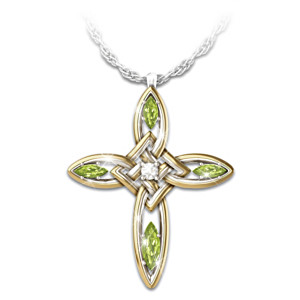 Infinite blessings peridot diamond cross pendant necklace infinite blessings diamond peridot celtic cross pendant mozeypictures Gallery