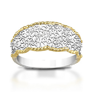"""Floral Lace"" Eternity Ring With 5 Genuine Diamonds"