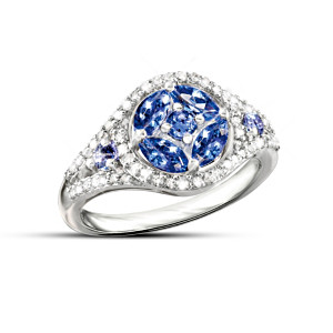 Sterling Silver Tanzanite Ring With 40 Diamonds