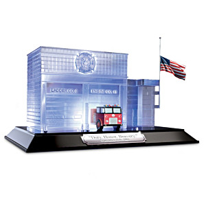 9/11 Commemorative Illuminated Firehouse Sculpture