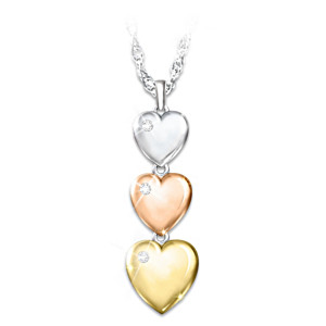 Three-Heart Diamond Pendant Necklace For Granddaughters