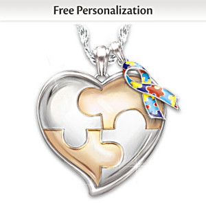 """My Hero"" Autism Awareness Personalized Pendant Necklace"
