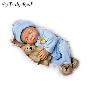 Lifelike Denise Farmer Baby Boy Doll With Plush Teddy-Bear