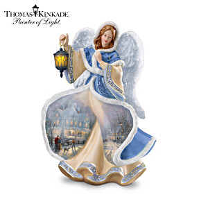 Thomas Kinkade Illuminated Winter Angel Figurine
