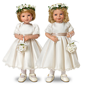 """The Royal Flower Girls"" Bisque Porcelain 2-Doll Set"