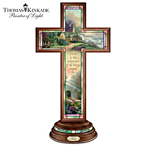 "Thomas Kinkade Illuminated Stained Glass-Style ""Hope Cross"""