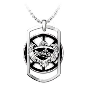 """Ride Forever"" Motorcycle Spinning Pendant Necklace"