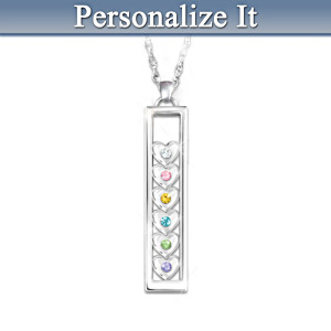 Personalized Mothers Pendant With Moving Birthstone Hearts