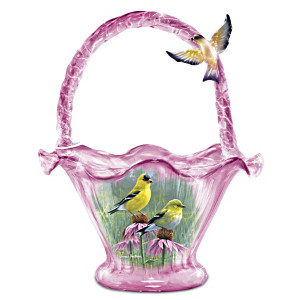 James Hautman Goldfinch Splendour Hand-Blown Art Glass Bowl