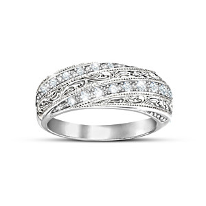 """Diamond Elegance"" Filigree Ring With 12 Diamonds"