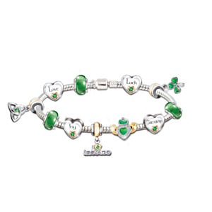 Irish Blessings Charm Bracelet With Swarovski Crystals