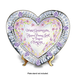 Heart-Shaped Floral Art Collector Plate For Granddaughters