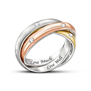 """Live Well, Love Much, Laugh Often"" Tri-Colour Engraved Ring"