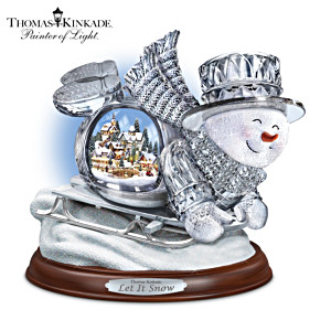 Thomas Kinkade Illuminated Musical Crystal Sledding Snowman