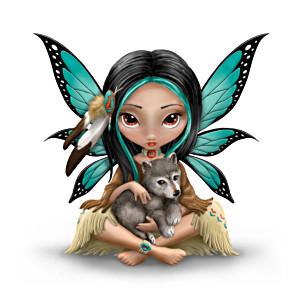 Jasmine Beckett-Griffith Mystical Fairy With Wolf Figurine