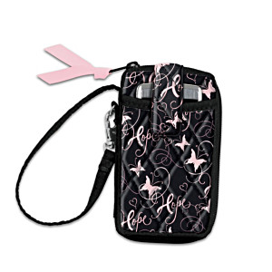 """""""Ribbons Of Hope"""" Breast Cancer Support Quilted Wristlet"""