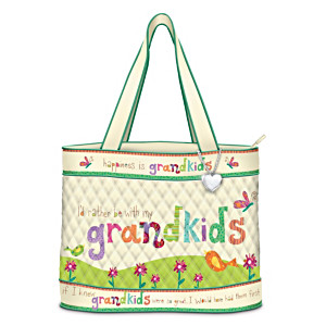 """Grandkids Rule"" Artistic Tote Bag With FREE Cosmetic Case"