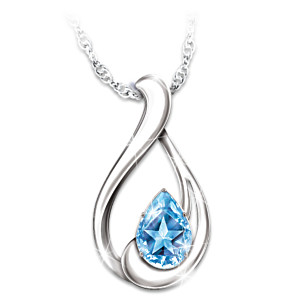 """Heavenly Star"" Blue Topaz Necklace With Engraved Hangtag"