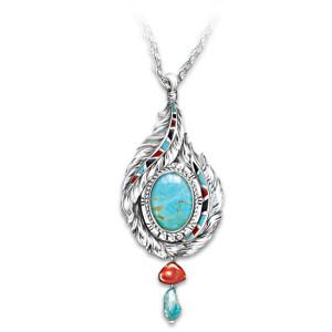 """""""Sedona Sky"""" Turquoise Hand-Enameled Pendant Necklace"""